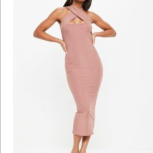 Dresses & Skirts - Ribbed cross front blush dress